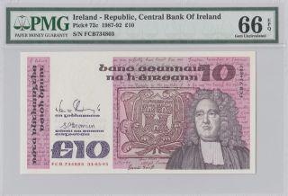 1987 - 92 £10 Pounds Ireland Pmg 66epq Gem Unc photo