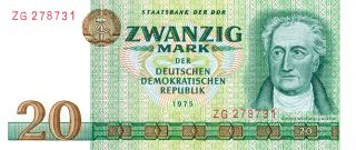 Staatsbank Der Ddr Germany 20 Mark 1975 Gem Unc photo