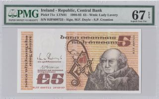 1988 - 93 £5 Pounds Ireland Pmg 67epq Gem Unc photo