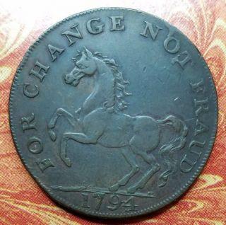 1794 Great Britain Kent Staplehurst Prancing Horse Halfpenny Conder Token D&h 40 photo