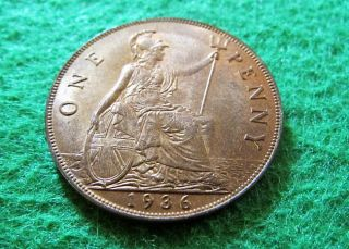 1936 Great Britain Penny - Red Bright Uncirculated - Geo V - U S photo