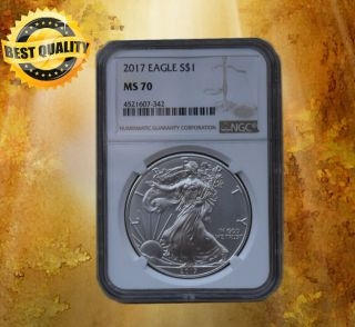 2017 $1 American Silver Eagle Ngc Ms70 Brown Label This Coin Is photo