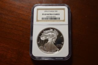 1993 - P Proof Silver Eagle American Dollar $1 Ngc Pf69 Ultra Cameo photo