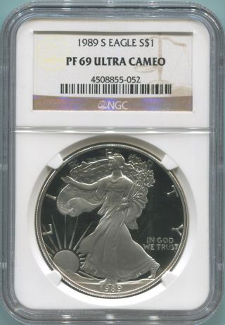 1989 S Proof Silver Eagle.  Ngc Pf69 Ultra Cameo photo