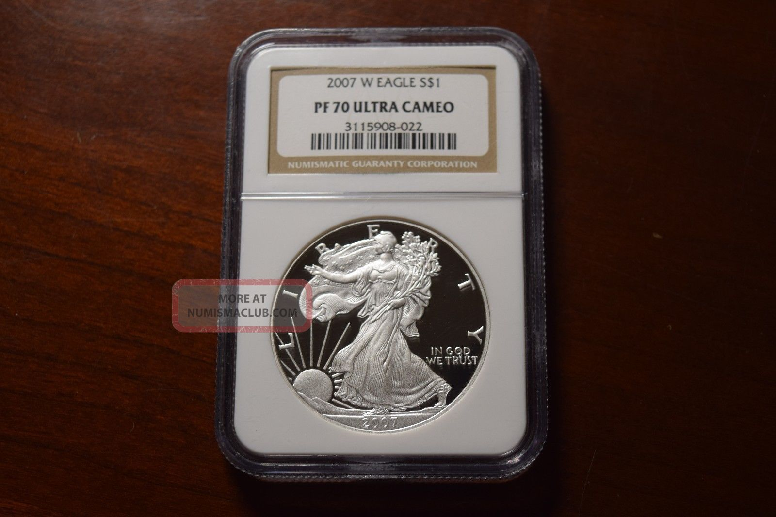 2007 - W $1 Silver Eagle Ngc Pf70 Ultra Cameo Proof Coin Perfect Coin Silver photo