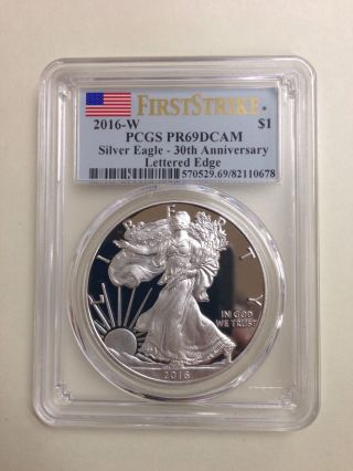2016 - W $1 Pcgs Pr69 Dcam F.  S.  Lettered Edge Silver Eagle Proof 30th Ann. photo