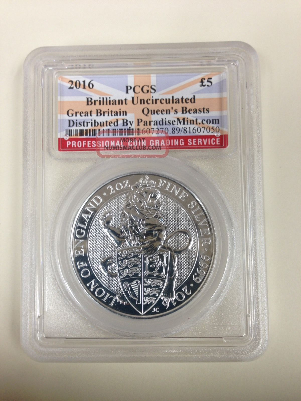 2016 Great Britain Pcgs Bu 2 Oz.  Silver Queen ' S Beast: Lion (1st In Series) Silver photo