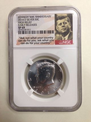 2014 - D 50c Ngc Sp69 State Bu E.  R.  Kennedy Silver Coin From 50th photo