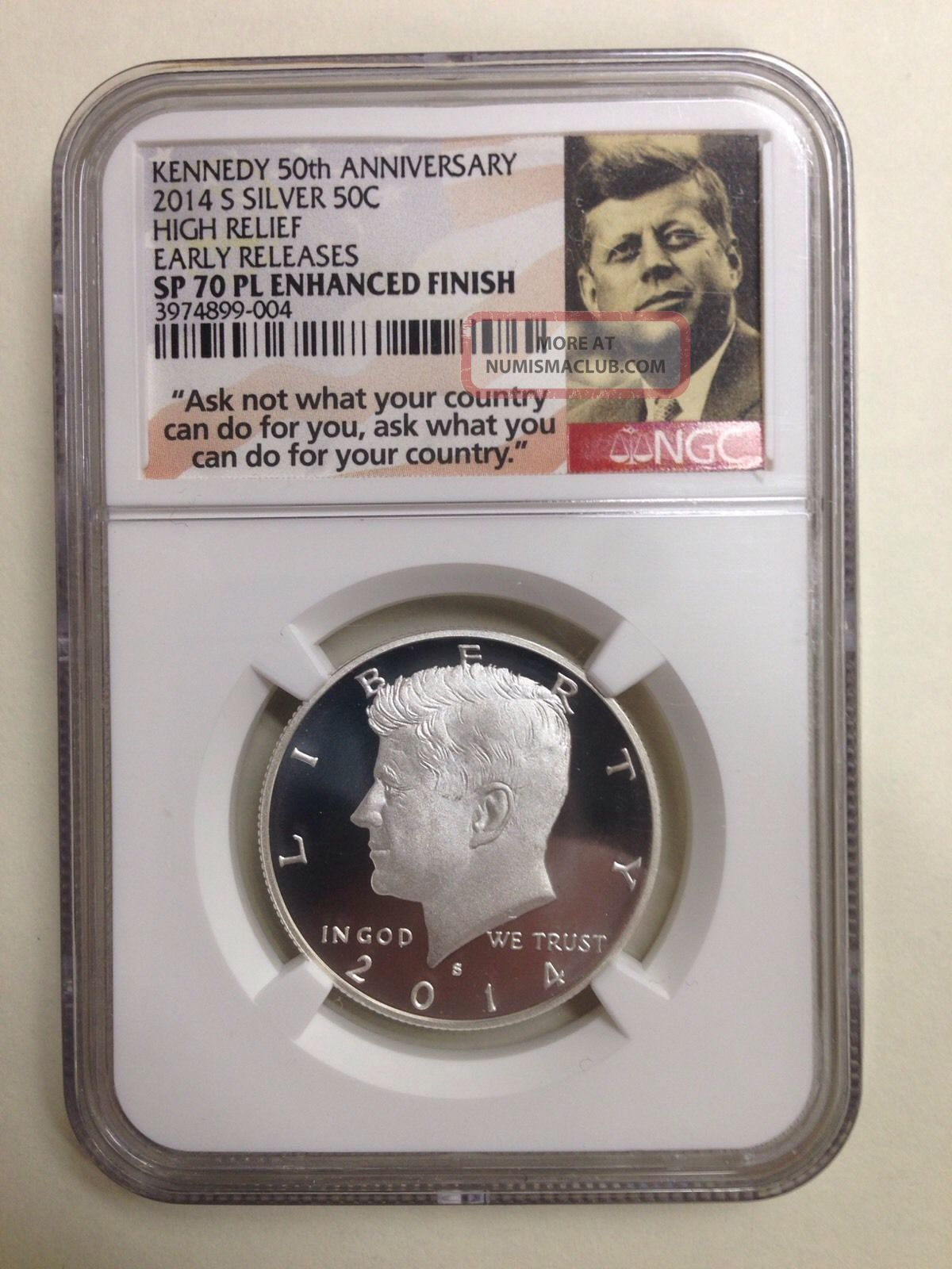2014 - S 50c Ngc Sp70 Pl E.  R.  Enhanced State Bu Kennedy Silver Coin From 50th Silver photo