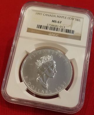 1997 Canada Maple Leaf S$5 Ms 67 Ngc Certified Lowest Mintage Maple 100,  970 photo