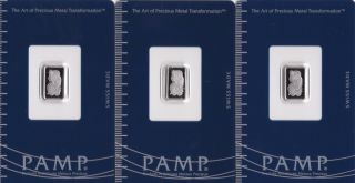 Three - 1 Gram Pamp Suisse Palladium Bar.  9995 Fine In Assay photo