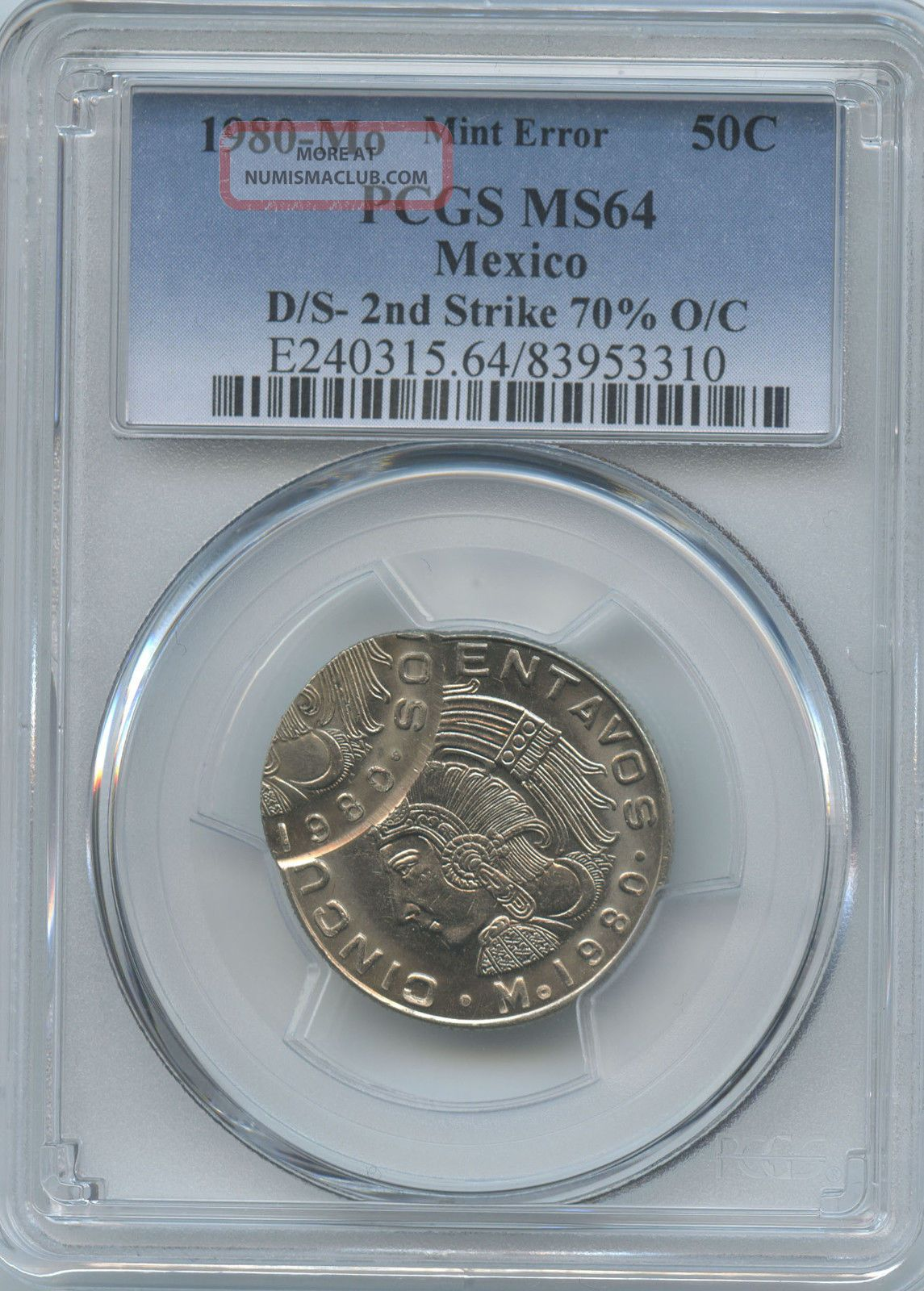 1980 Mexico 50c Double Struck Pcgs Ms - 64 Coins: World photo