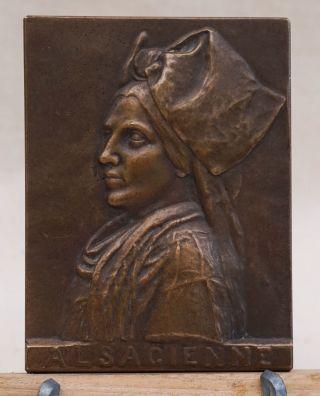 1916 Fr Ww1 Alsacienne Alsatian Coif Def.  Belfort Lion Medal Bronze R - Merignac photo