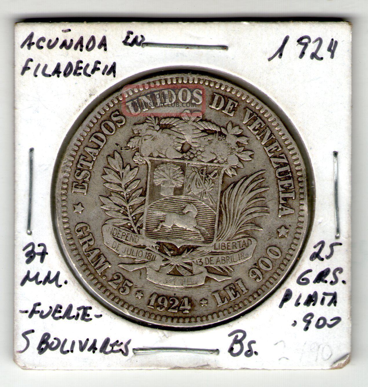 Coin Silver 900 Venezuela 5 Bolivares 25g Fuerte Plata 1924 Simon Bolivar Rare South America photo