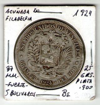 Coin Silver 900 Venezuela 5 Bolivares 25g Fuerte Plata 1924 Simon Bolivar Rare photo