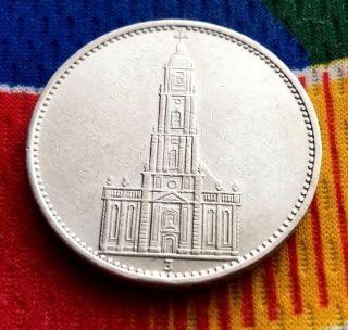 1934 J Ww2 5 Mark 90 Silver German Garrisonkirche 3rd Reich Coin photo