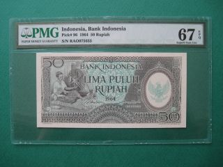 1964 Indonesia 50 Rupiah Pmg 67 Epq Gem Unc photo