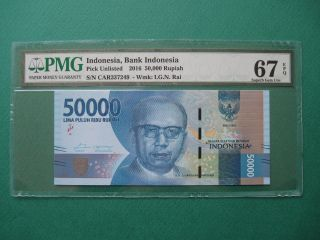 2016 Indonesia 50,  000 Rupiah Pmg 67 Epq Gem Unc photo