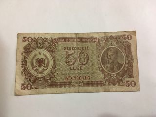 Albania Paper Money 50 Leke 1947 Banknote Albanian Lek 50 From 1947 Communism photo