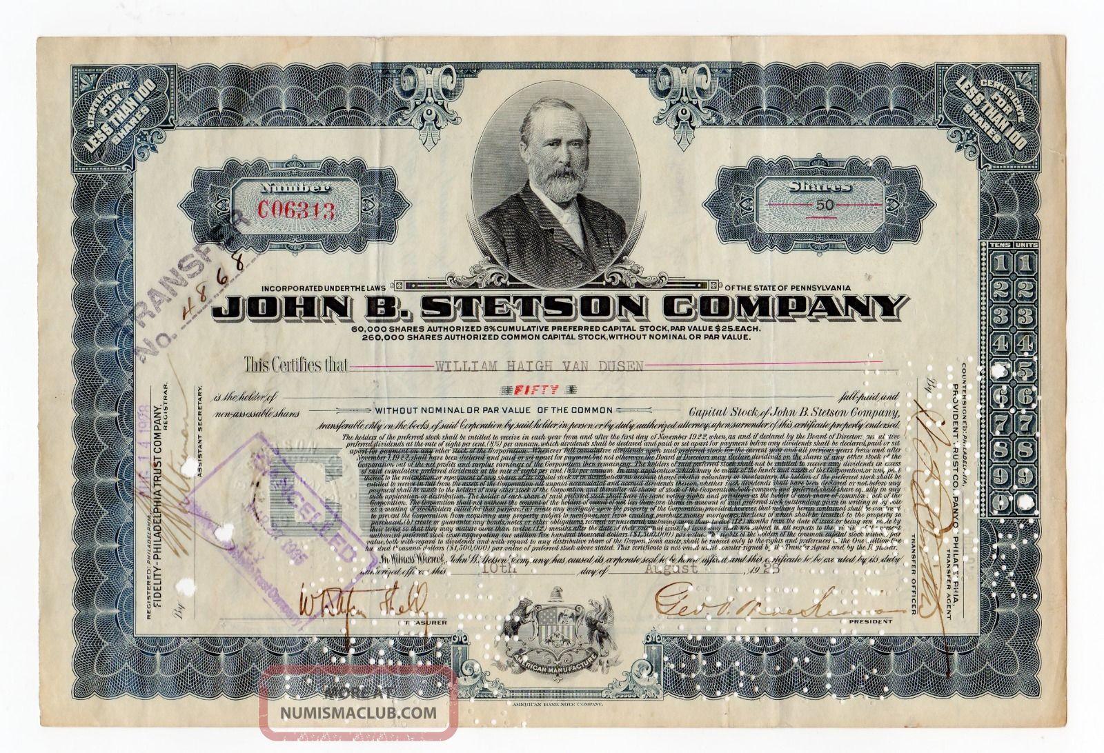 John B.  Stetson Company Stock Cert. Stocks & Bonds, Scripophily photo