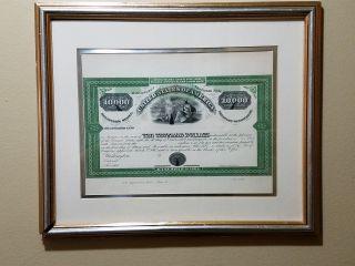 1864 United States Civil War $10,  000 Bond Specimen In Frame photo