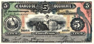 1911 Banco De Occidente - Guatemala 5 Pesos In Xf Pick: 176b photo