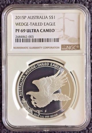 2015 - P 1oz Silver Australia Wedge - Tailed Eagle Ngc Pf69 Ucam - photo