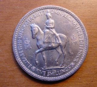 British Queen Elizabeth Coronation Crown Coin 1953 photo