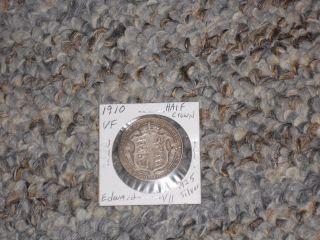 1910 Great Britain Uk Edward Vii.  925 Silver Half Crown Vf No Problem photo