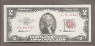 1953 A - $2 Gem Cu Red Seal Miscut Note photo