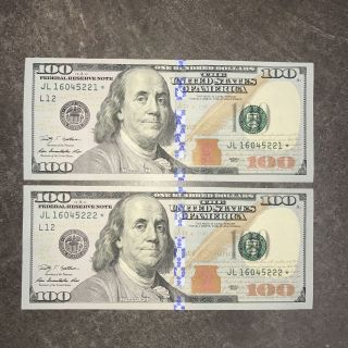 $100 Dollar Star Serial Number 2009 Series Note One Hundred Bill Currency Consec photo