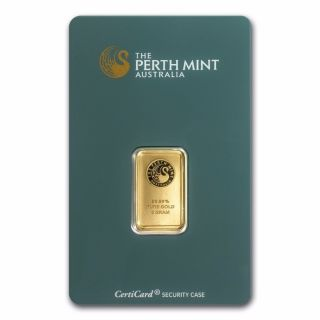5 Gram Perth Gold Bar - In Assay Card - Sku 57163 photo