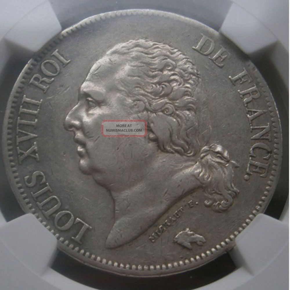 Ngc - France - Luis Xiii - 5 Francs - 1822a - Xf Details,  Surface Hairlines Europe photo