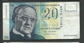 Finland 1993 20 Markkaa P 122 Circulated photo