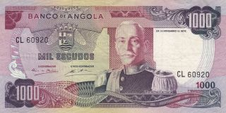 Angola 1,  000 Escudos Banknote 24.  11.  1972 (p - 103) photo