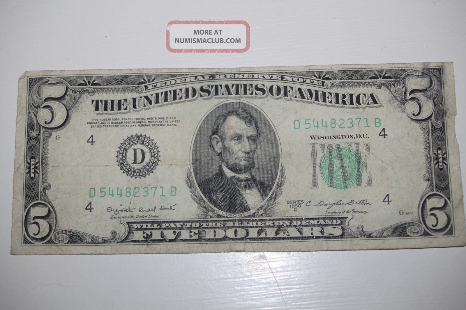 1950 $5 Federal Reserve Note.  Cleveland,  Usa.  Five Dollar Bill Old Fiver Still Small Size Notes photo