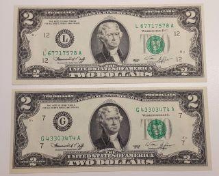 (2) 1976 Us 2 Dollar Bill Note Green Seal Crisp Uncirculated photo