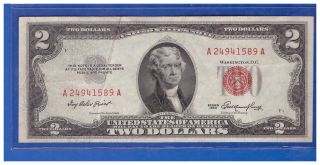 1953 $2 Dollar Bill Old Us Note Legal Tender Paper Money Currency Red Seal M763 photo