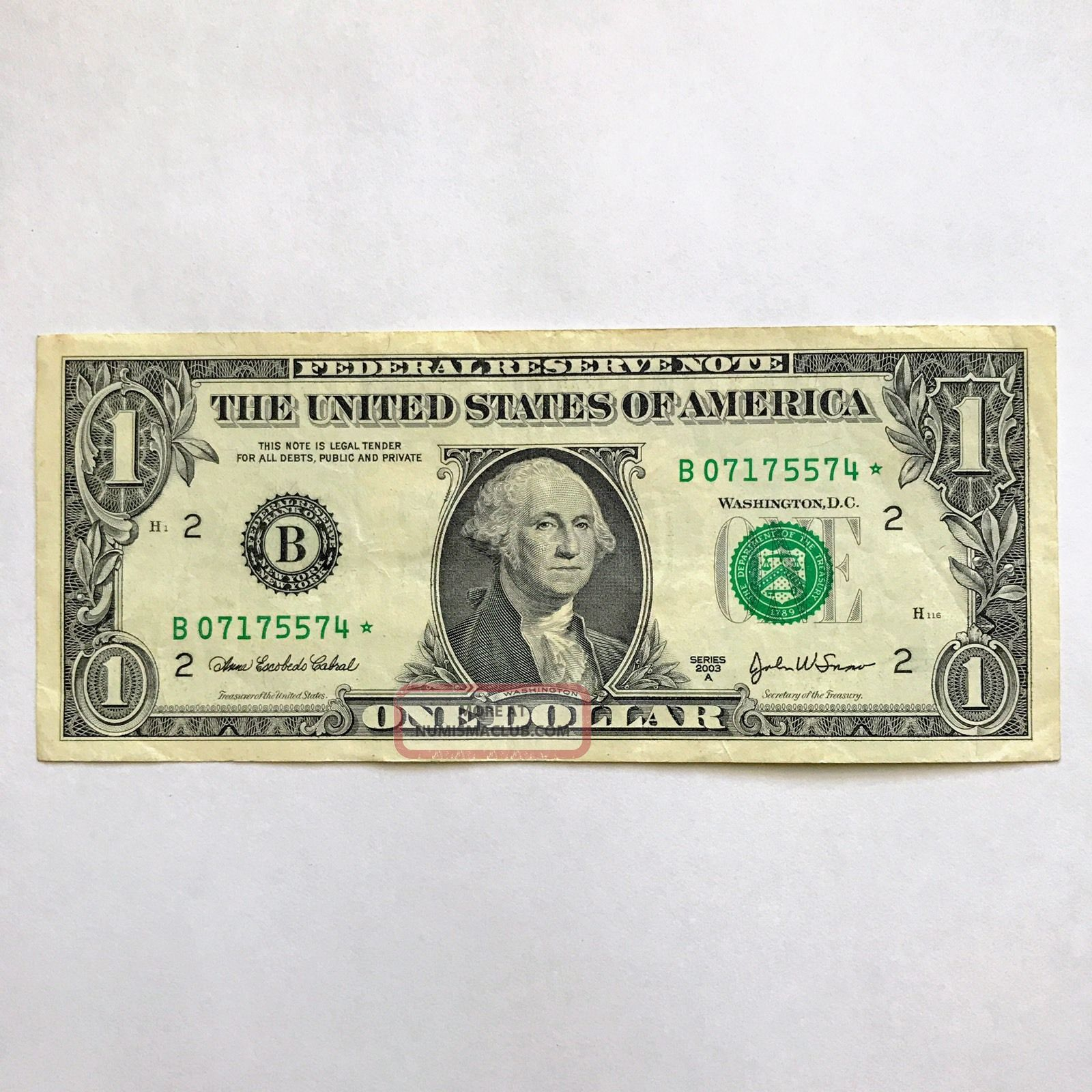 Star 2003 - A $1 Dollar Bill Low Serial B07175574 Ny Federal Reserve Note Small Size Notes photo