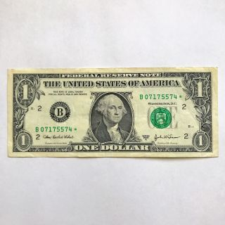 Star 2003 - A $1 Dollar Bill Low Serial B07175574 Ny Federal Reserve Note photo