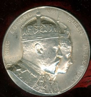 1902 King Edward Vii Coronation Celebration Silver Medal,  By Fuchs For Elkington photo