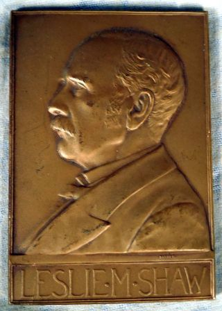 Us Bronze Medal Plaque 1902 Leslie Shaw Secretary Of Treasury Barber photo