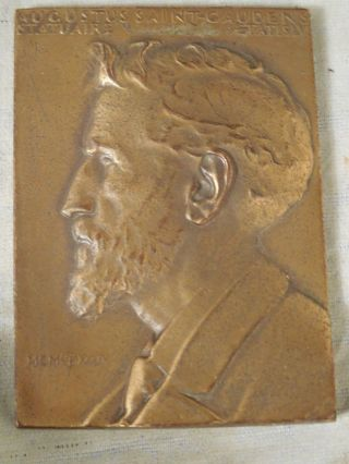 John Flanagan Bronze Plaque Medal Of Augustus Saint Gaudens Metallic Art Co 1937 photo