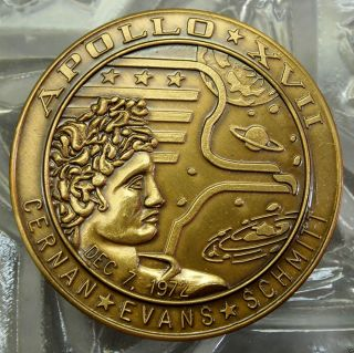 Heavy Bronze Apollo Xvii (12/7/72) Project Apollo Commemorative Token.  10430 photo