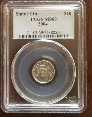 2004 Platinum Liberty Eagle $10 (1/10 Oz) Pcgs Ms - 69 photo