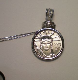 2013 1/10 Platinum Eagle With 14 K White Gold Chain / 6.  1 Grams Total Weight photo