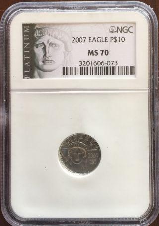 2007 Platinum Liberty Eagle $10 (1/10 Oz) Ngc Ms - 70 photo