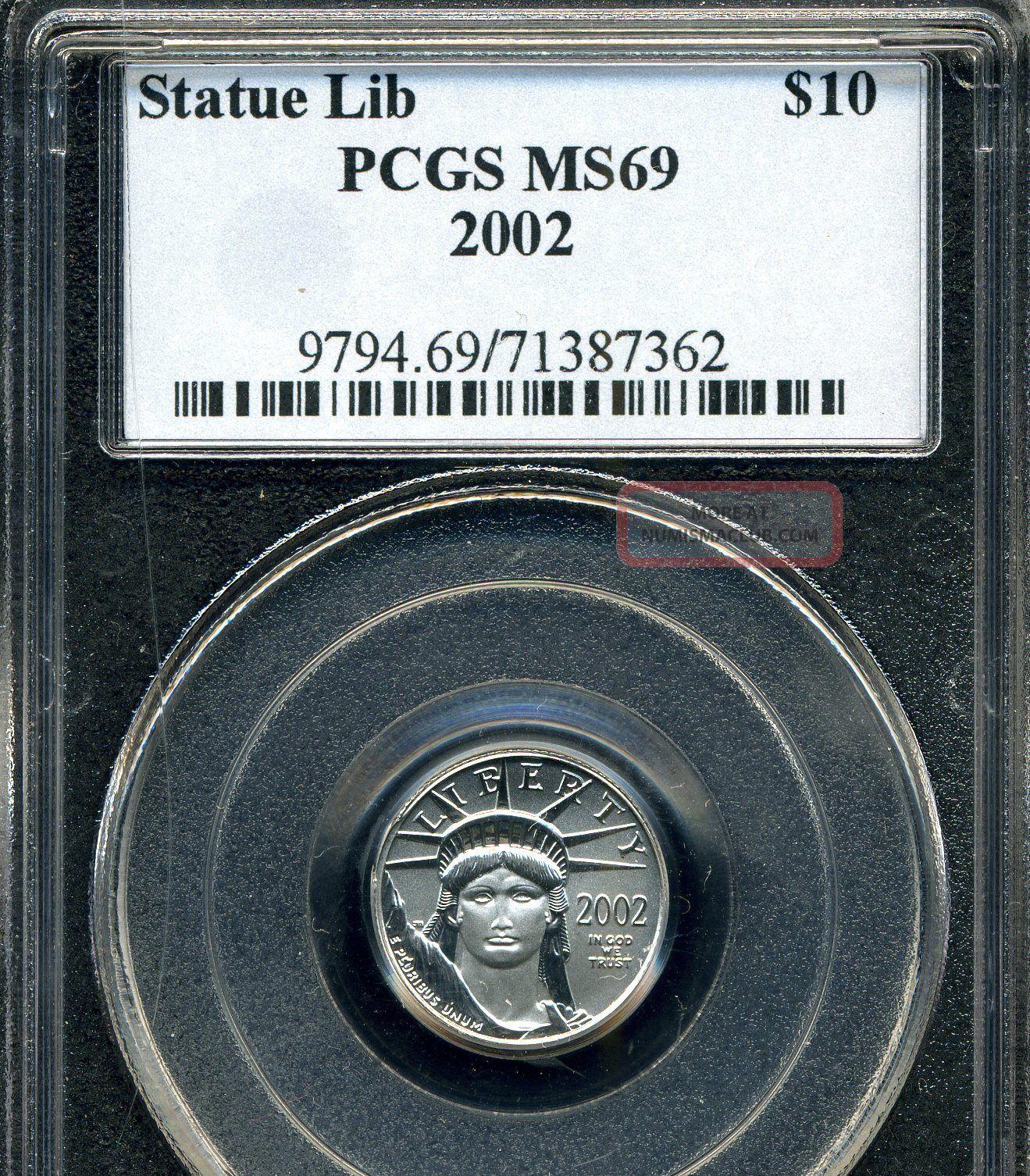 2002 Platinum Eagle Pcgs Ms69 1/10 Oz.  Tenth Ounce Platinum photo