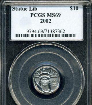 2002 Platinum Eagle Pcgs Ms69 1/10 Oz.  Tenth Ounce photo