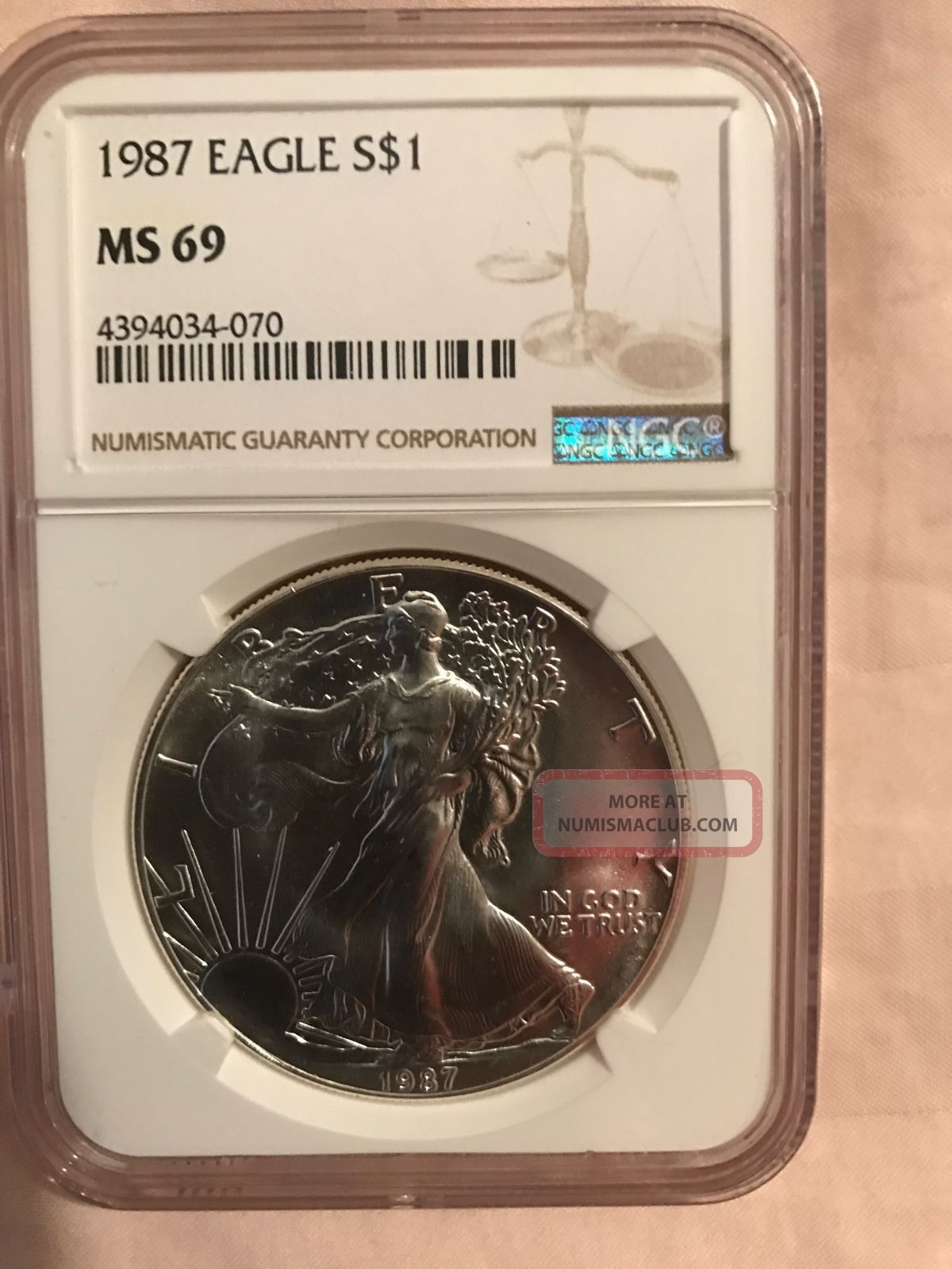 1987 Silver American Eagle (ngc Ms - 69) Coins photo